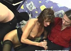 Heavily Pierced MILF Pussies Three On Two Orgy