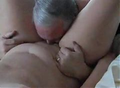 Lucky man eats mature cunt