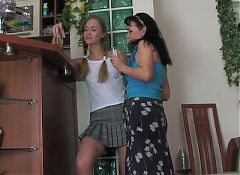 Mature brunette seduces a girl