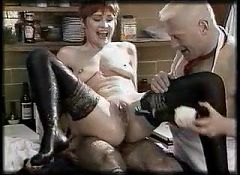 Crazy kinky mature gets her holes filled with food