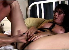 Old spunker in sexy lingerie loves a sticky facial cumshot