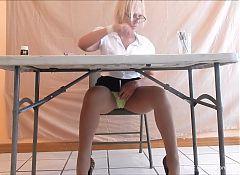 Nasty teacher Ms. Sofia's upskirt tease