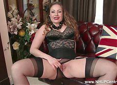 Natural big tits brunette Sophia Delane wanks in nylon heels