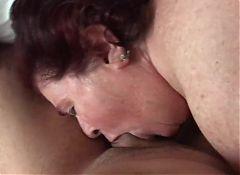 Fat horny granny eats my cock