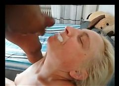 Granny sucking many strangers cocks for cum