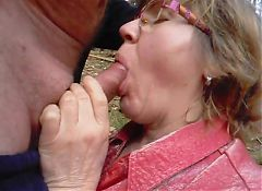 granny sucks her husband in the forest