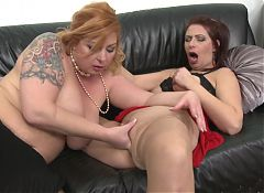 Hot MOMs lick and fuck each other
