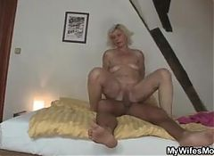 Blonde motherinlaw rides daughter's man cock
