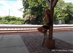 Working the train station in miniskirt and heels