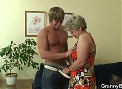 Old granny gives head and rides his cock