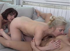 Daughter Cherry Kiss shared by two mature mothers