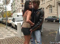 Skinny old prostitute swallows his horny cock