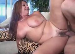 grandma and her saggy tits fuck a young boy