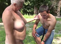 Bare Bold Nudist Granny and Young Cock Admirer