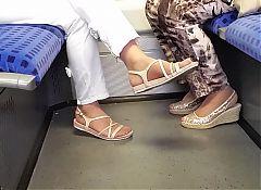 two granny's nylon feet