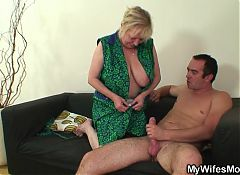 Busty granny fucks son-in-law after his wife leaves