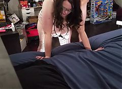 Fucking my bbw wife from behind and creampie angle 1