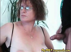My MILF Exposed Hairy mature wife sucking cock and toying