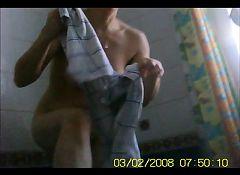 Unaware Voyeur- wife drying offf after bath