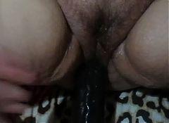 Mature wife takes Big Black Dildo