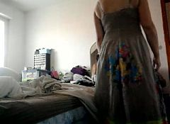 my wife topless under her dress