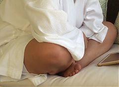 watching MILF in a bathrobe