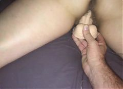 Wife's new dildo makes her cum