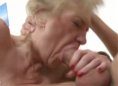 Wild mature mom with saggy tits fucked by son