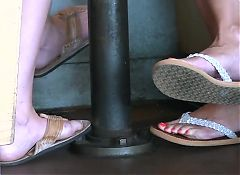 Daughter and mother leg and foot tease