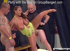 Busty German slut  is the hardcore gangbang queen