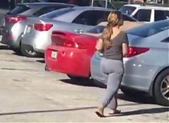 Dirty Blonde Latina Milf in Grey Leggings OTD