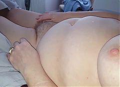 rubbing her big breast & hairy bush